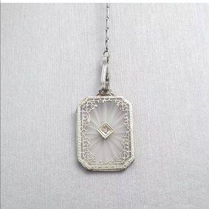 Art Deco 14k Gold Camphor Glass Diamond Necklace